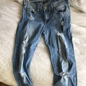 Flying Monkey light wash distressed jeans
